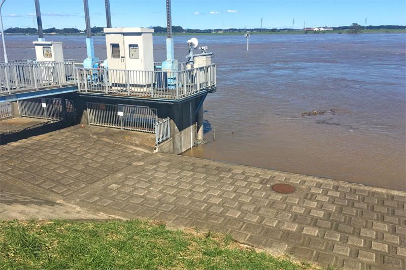 台風による利根川の木下布佐付近の増水